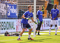 Torwart Carl Leonhard (SV Darmstadt 98) - 04.08.2019: SV Darmstadt 98 vs. Holstein Kiel, Stadion am Boellenfalltor, 2. Spieltag 2. Bundesliga<br /> DISCLAIMER: <br /> DFL regulations prohibit any use of photographs as image sequences and/or quasi-video.