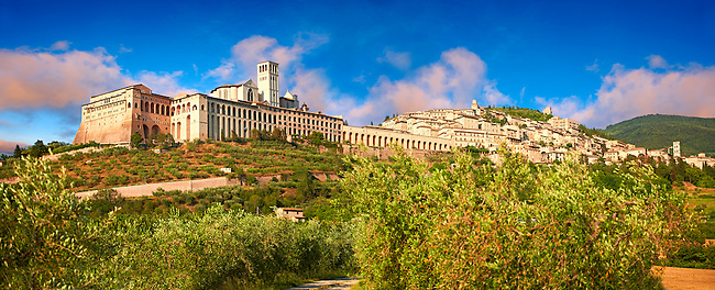 Panoramic view of Assisi aith the Papal Basilica of St Francis of Assisi, ( Basilica Papale di San Francesco ) Assisi, Italy
