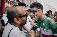Italian champion Fabio Aru (ITA/Astana) greeting some friends at the start<br /> <br /> 104th Tour de France 2017<br /> Stage 16 - Le Puy-en-Velay &rsaquo; Romans-sur-Is&egrave;re (165km)