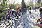 The peloton including Luxembourg National Champion Bob Jungels (LUX) Deceuninck-Quick Step climb Taaienberg during the 2019 E3 Harelbeke Binck Bank Classic 2019 running 203.9km from Harelbeke to Harelbeke, Belgium. 29th March 2019.<br /> Picture: Eoin Clarke | Cyclefile<br /> <br /> All photos usage must carry mandatory copyright credit (© Cyclefile | Eoin Clarke)
