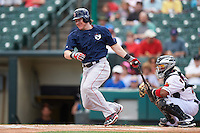 Pawtucket Red Sox catcher Ryan Hanigan (35), on rehab assignment from the Boston Red Sox, at bat in front of catcher Carlos Paulino during a game against the Rochester Red Wings on June 29, 2016 at Frontier Field in Rochester, New York.  Pawtucket defeated Rochester 3-2.  (Mike Janes/Four Seam Images)