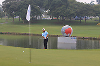 Alexander Levy (Europe) on the 3rd green during the Saturday Foursomes of the Eurasia Cup at Glenmarie Golf and Country Club on the 13th January 2018.<br /> Picture:  Thos Caffrey / www.golffile.ie