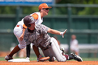 Texas A&M Aggies outfiedler Brandon Wood #8 calls time out after sliding into second base with a double during the NCAA baseball game against the Texas Longhorns on April 29, 2012 at UFCU Disch-Falk Field in Austin, Texas. The Longhorns beat the Aggies 2-1 in the last ever regular season game scheduled for the long time rivals. (Andrew Woolley / Four Seam Images)