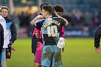 Matthew Bloomfield of Wycombe Wanderers congratulates Barry Richardson at full time of the Sky Bet League 2 match between Plymouth Argyle and Wycombe Wanderers at Home Park, Plymouth, England on 30 January 2016. Photo by Mark  Hawkins / PRiME Media Images.