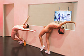 London, UK. 07/10/2015. Eddie Peake: The Forever Loop opens in the Curve gallery at the Barbican Centre on 9 October 2015 and runs until 10 January 2016. In this free exhibition, Eddie Peake presents installations, choreographed performance of nude male and female dancers and video set-ups. EDITORIAL USE IN CONNECTION WITH THE EXHIBITION.