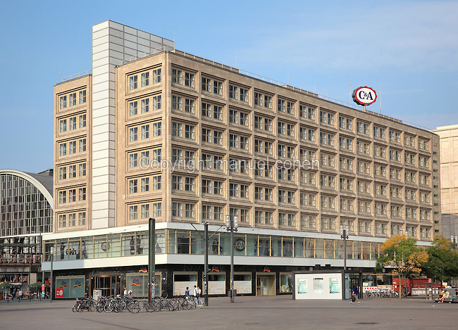 The Berolinahaus, built 1929-32 by Peter Behrens, used for retail and offices, on the Alexanderplatz, Berlin, Germany. This classical modernist building has been protected since 1975 as an example of the Neuen Sachlichkeit or New Objectivity style. Picture by Manuel Cohen