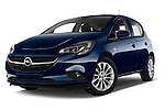Stock pictures of low aggressive front three quarter view of a 2015 Opel CORSA Enjoy 5 Door Hatchback Low Aggressive
