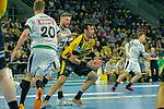 Gedeon Villaplana Guardiola (Rhein Neckar Löwen Nr.30) holt sich den Ball in der Abwehr gegen Maciej Geballt (DHfK Leipzig Nr.28) und Philipp Weber (DHfK Leipzig Nr.20) -beim Bundesliga-Spiel der Rhein Neckar Löwen gegen SC DHfK Leipzig am 03.03.2020 in der SAP Arena in Mannheim beim Spiel in der Handball Bundesliga, Rhein Neckar Loewen - SC DHfK Leipzig.<br /> <br /> Foto © PIX-Sportfotos *** Foto ist honorarpflichtig! *** Auf Anfrage in hoeherer Qualitaet/Aufloesung. Belegexemplar erbeten. Veroeffentlichung ausschliesslich fuer journalistisch-publizistische Zwecke. For editorial use only.