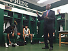 Bernard Tomlin, SUNY Old Westbury men's basketball head coach, talks to his team in the locker room after their 76-69 win over Mount Saint Mary College (Newburgh, NY) at Clark Athletic Center, located on SUNY Old Westbury's campus, on Thursday, Jan. 10, 2019.