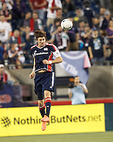 New England Revolution midfielder Stephen McCarthy (26) heads the ball. In a Major League Soccer (MLS) match, the New England Revolution defeated Vancouver Whitecaps FC, 4-1, at Gillette Stadium on May 12, 2012.