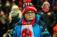 A young Fleetwood Town fan anticipates the start of the match<br /> <br /> Photographer Alex Dodd/CameraSport<br /> <br /> The EFL Sky Bet League One - Fleetwood Town v Shrewsbury Town - Tuesday 13th February 2018 - Highbury Stadium - Fleetwood<br /> <br /> World Copyright &copy; 2018 CameraSport. All rights reserved. 43 Linden Ave. Countesthorpe. Leicester. England. LE8 5PG - Tel: +44 (0) 116 277 4147 - admin@camerasport.com - www.camerasport.com
