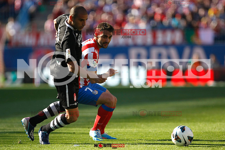 Atletico's Adrian and Granada's Aranda during La Liga BBVA match. April 14, 2013.(ALTERPHOTOS/Alconada)