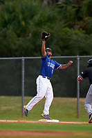 Indiana State Sycamores first baseman Miguel Rivera (17) stretches for a throw during a game against the Chicago State Cougars on February 23, 2020 at North Charlotte Regional Park in Port Charlotte, Florida.  Chicago State defeated Indiana State 3-0.  (Mike Janes/Four Seam Images)
