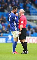 29th February 2020; Cardiff City Stadium, Cardiff, Glamorgan, Wales; English Championship Football, Cardiff City versus Brentford; Sean Morrison of Cardiff City pleads with Referee Simon Hooper