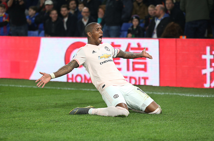 Manchester United's Ashley Young celebrates scoring his side's third goal <br /> <br /> Photographer Rob Newell/CameraSport<br /> <br /> The Premier League - Wednesday 27th February 2019  - Crystal Palace v Manchester United - Selhurst Park - London<br /> <br /> World Copyright © 2019 CameraSport. All rights reserved. 43 Linden Ave. Countesthorpe. Leicester. England. LE8 5PG - Tel: +44 (0) 116 277 4147 - admin@camerasport.com - www.camerasport.com