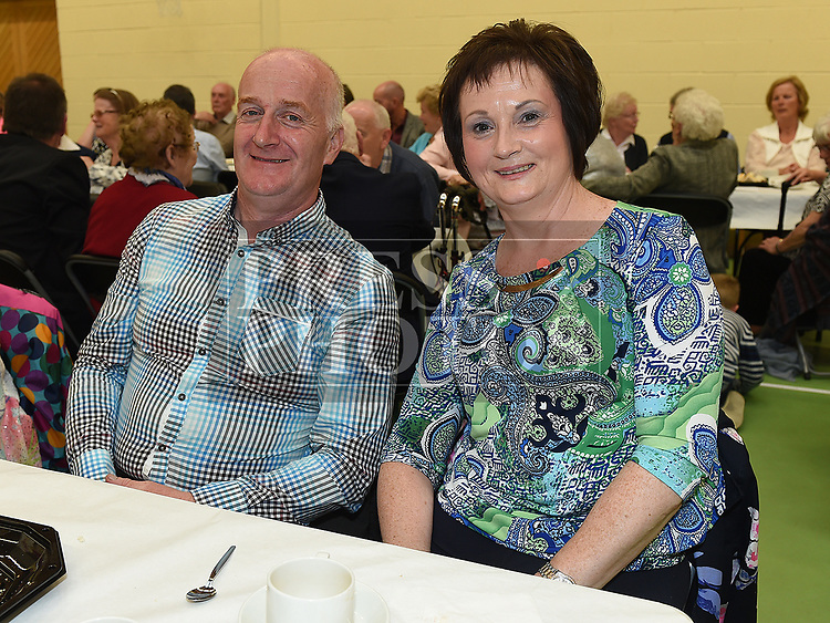 Anne and Frank Ward at the after mass party in the Monastery National School Ardee for Canon Peter Murphy who was celebrating 40 years in the priesthood. Photo:Colin Bell/pressphotos.ie