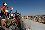 Ivan Basso, Alberto Contador, Nir Barkat and Sylvan Adams overlook the city of Jerusalem. The Big Start of the Giro d'Italia 2017 running from the 4th to 27th May 2018, was presented today in Jerusalem, Israel 18th September 2017.<br /> Picture: RCS | Cyclefile<br /> <br /> <br /> All photos usage must carry mandatory copyright credit (&copy; Cyclefile | RCS)