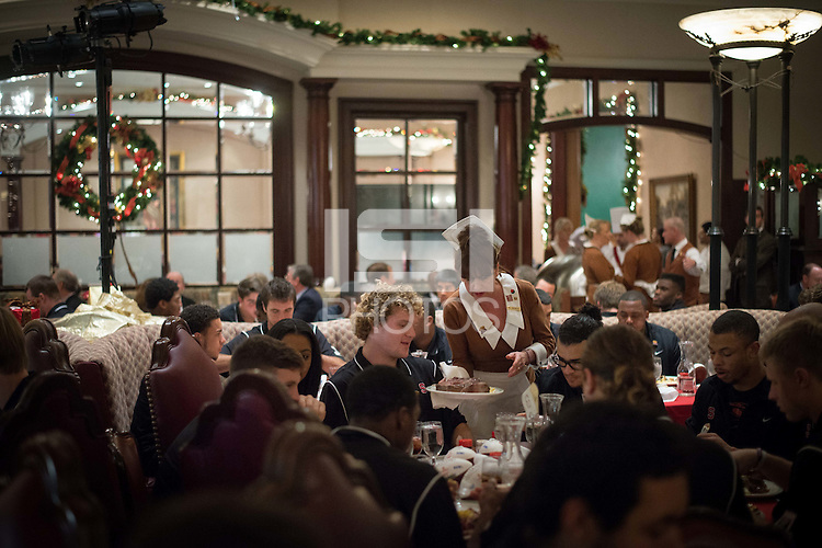 LOS ANGELES, CA  - The Stanford Cardinal participates in the 58th Annual Beef Bowl at Lawry's Prime Rib restaurant as it prepares for the 100th Rose Bowl Game in Pasadena.