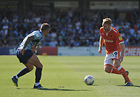 Blackpool's Chris Taylor under pressure from Wycombe Wanderers' Michael Harriman<br /> <br /> Photographer Kevin Barnes/CameraSport<br /> <br /> The EFL Sky Bet League One - Wycombe Wanderers v Blackpool - Saturday 4th August 2018 - Adams Park - Wycombe<br /> <br /> World Copyright &copy; 2018 CameraSport. All rights reserved. 43 Linden Ave. Countesthorpe. Leicester. England. LE8 5PG - Tel: +44 (0) 116 277 4147 - admin@camerasport.com - www.camerasport.com