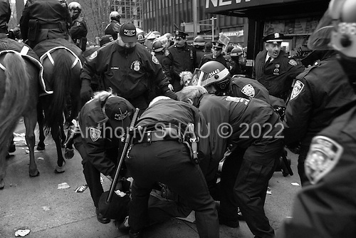 New York, New York.USA.February 15, 2003..A massive anti-Iraq war rally on 1st, 2nd and 3rd Avenues in New York City. Crowd estimates range from 100,000 to 400,000 people. ..The NY police presents was heavy handed. Horses were used to forces crowds off the streets. Many arrests were made.