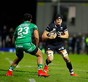 9th February 2018, Galway Sportsground, Galway, Ireland; Guinness Pro14 rugby, Connacht versus Ospreys; James King (Ospreys) gets the ball as Pita Ahki (Connacht) closes in