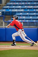 Potomac Nationals first baseman Ian Sagdal (1) follows through on a swing during the first game of a doubleheader against the Salem Red Sox on June 11, 2018 at Haley Toyota Field in Salem, Virginia.  Potomac defeated Salem 9-4.  (Mike Janes/Four Seam Images)