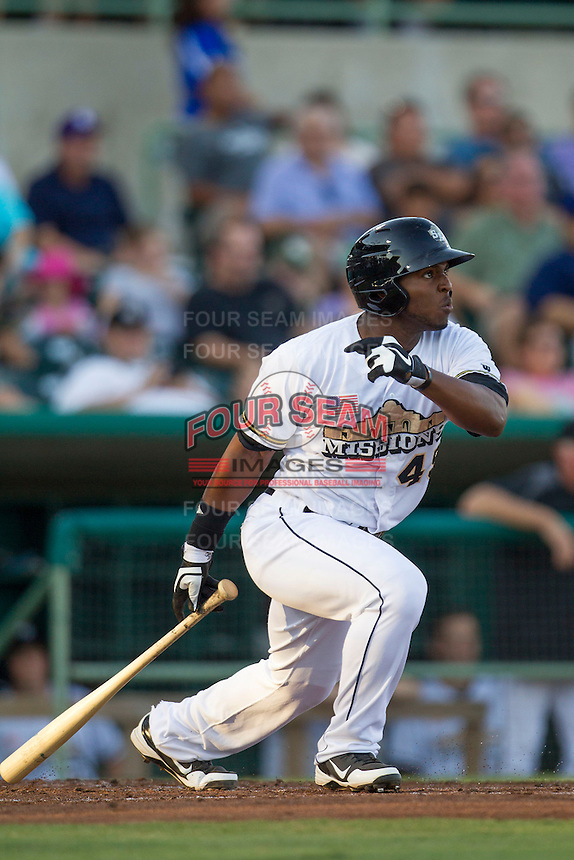 San Antonio Missions outfielder Everett Williams (45) follows through on his swing during the Texas League baseball game against the Midland RockHounds on July 13, 2013 at Nelson Wolff Municipal Stadium in San Antonio, Texas. The Missions defeated the Rock Hounds 5-4. (Andrew Woolley/Four Seam Images)