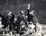 Apollo 11 Astronauts with Mayor John Lindsey being welcomed in NYC Ticker Tape parade