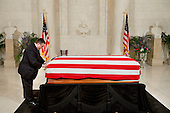 The flag covering the casket of late United States Supreme Court Justice Antonin Scalia is adjusted by funeral home staff before the doors opened to the public in the Great Hall of the US Supreme Court where the late Justice lies in repose in Washington, DC on Friday, February 19, 2016. <br /> Credit: Jacquelyn Martin / Pool via CNP