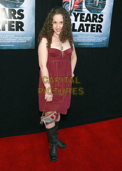 "SENTA MOSES .""10 Years Later"" special screening held at The Majestic Theater, Westwood, California, USA, 16th July 2009..ten full length red maroon dress burgundy black boots bag handbag knee high necklace curly hair .CAP/ADM/TC.©T. Conrad/Admedia/Capital Pictures"