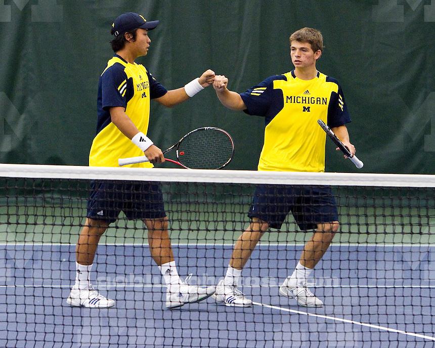 The University of Michigan men's tennis team beat Nebraska, 4-3, at the Varsity Tennis Center in Ann Arbor, Mich., on 4/14/12.