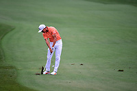 Rickie Fowler (USA) hits his approach shot on 3 during round 4 of the Shell Houston Open, Golf Club of Houston, Houston, Texas, USA. 4/2/2017.<br /> Picture: Golffile | Ken Murray<br /> <br /> <br /> All photo usage must carry mandatory copyright credit (&copy; Golffile | Ken Murray)