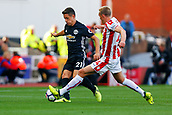 9th September 2017, bet365 Stadium, Stoke-on-Trent, England; EPL Premier League football, Stoke City versus Manchester United; Ander Herrera of Manchester United tussles with Darren Fletcher of Stoke City