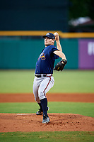 Mississippi Braves starting pitcher Matt Withrow (40) delivers a pitch during a game against the Montgomery Biscuits on April 24, 2017 at Montgomery Riverwalk Stadium in Montgomery, Alabama.  Montgomery defeated Mississippi 3-2.  (Mike Janes/Four Seam Images)