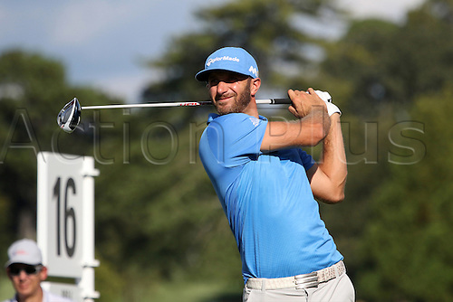 23.09.2016. Atlanta, Georgia, USA.   Dustin Johnson, the current leader at -7, tees off on the sixteenth hole during the second round of the 2016 PGA Tour Championship at East Lake Golf Club in Atlanta, Georgia.