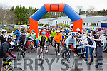 The cyclists leave Killorglin CC at the start of the Two Lakes Cycle in Killorglin on Saturday