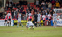 Sam Jones of Grimsby looks dejected after his side concede their second goal during the Sky Bet League 2 match between Cheltenham Town and Grimsby Town at the The LCI Rail Stadium,  Cheltenham, England on 17 April 2017. Photo by PRiME Media Images / Mark Hawkins.