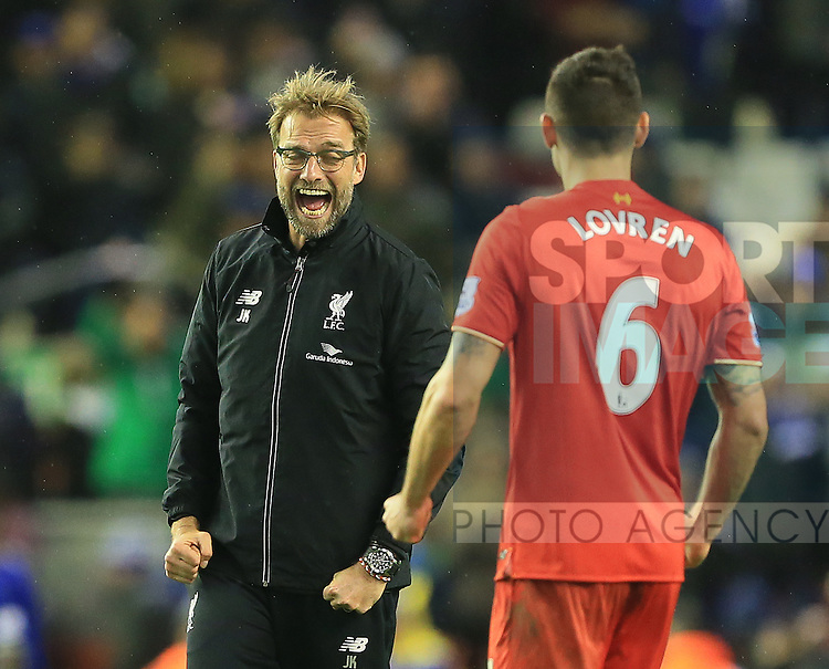 Liverpool's Jurgen Klopp celebrates at the final whistle<br /> <br /> Barclays Premier League- Liverpool vs Leicester City - Anfield - England - 26th December 2015 - Picture David Klein/Sportimage