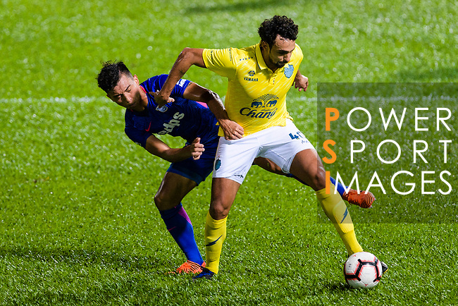 Li Hoi Ngai of Kitchee SC (L) fights for the ball with Diogo Luis Santo of Buriram (R) during the Preseason Friendly Match between Kitchee and Buriram United at Mong Kok Stadium on August 18, 2018 in Hong Kong. Photo by Marcio Machado/Photo by Marcio Machado/Power Sport Images
