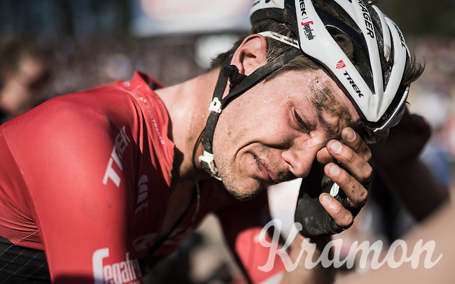 Finishing a close 4th in his dream race left Jasper Stuyven (BEL/Trek-Segafredo) overwhelmed at the finish when just missing out on the podium<br /> <br /> 115th Paris-Roubaix 2017 (1.UWT)<br /> One Day Race: Compi&egrave;gne &rsaquo; Roubaix (257km)