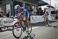 Roy Jans (BEL/Wanty-Groupe Gobert) crossing the finish line<br /> <br /> Tour de Wallonie 2015<br /> stage 5: Chimay - Thuin (