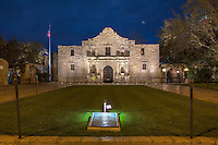 About 45 minutes before the light of day, the Alamo in San Antonio, Texas, is lit with floodlights. I don't know if it was by intention, but the upward facing lights cast shadows on the 2nd floor that appear as tombstones, a solemn reminder of the Alamo's historic past.