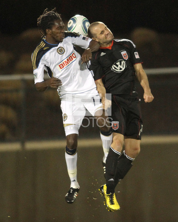 Branden Barklage(24) of D.C. United goes for a header against Keon Daniel(17) of the Philadelphia Union during a play-in game for the US Open Cup tournament at Maryland Sportsplex, in Boyds, Maryland on April 6 2011. D.C. United won 3-2 after overtime penalty kicks.