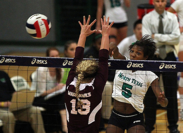 Denton, TX - SEPTEMBER 23: Carnae Dillard #5 of the University of North Texas Mean Green Volleyball in action against the University of Louisiana at Monroe at University of North Texas Volleyball Complex in Denton on September 23, 2012 in Denton, Texas. (Photo by Rick Yeatts)