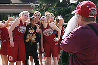 3 April 2008: The team departs for the Final Four and is sent off by fans and staff of the Athletic Department near Maples Pavilion in Stanford, CA. Pictured are Kayla Pedersen, Melanie Murphy, Morgan Clyburn, Jeanette Pohlen, Ashley Cimino, and Hannah Donaghe.