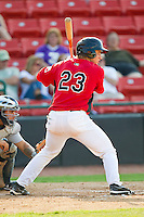 Kellin Deglan #23 of the Hickory Crawdads at bat against the Charleston RiverDogs at L.P. Frans Stadium on April 29, 2012 in Hickory, North Carolina.  The Crawdads defeated the RiverDogs 12-3.  (Brian Westerholt/Four Seam Images)