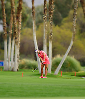 Lexi Thompson, of the United States, hits her approach shot on the par 5 18th hole during the third round of the ANA Inspiration at the Mission Hills Country Club in Palm Desert, California, USA. 3/31/18.<br /> <br /> Picture: Golffile | Bruce Sherwood<br /> <br /> <br /> All photo usage must carry mandatory copyright credit (&copy; Golffile | Bruce Sherwood)during the second round of the ANA Inspiration at the Mission Hills Country Club in Palm Desert, California, USA. 3/31/18.<br /> <br /> Picture: Golffile | Bruce Sherwood<br /> <br /> <br /> All photo usage must carry mandatory copyright credit (&copy; Golffile | Bruce Sherwood)