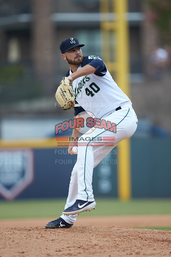 Gwinnett Stripers relief pitcher Chad Sobotka (40) in action against the Scranton/Wilkes-Barre RailRiders at Coolray Field on August 18, 2019 in Lawrenceville, Georgia. The RailRiders defeated the Stripers 9-3. (Brian Westerholt/Four Seam Images)