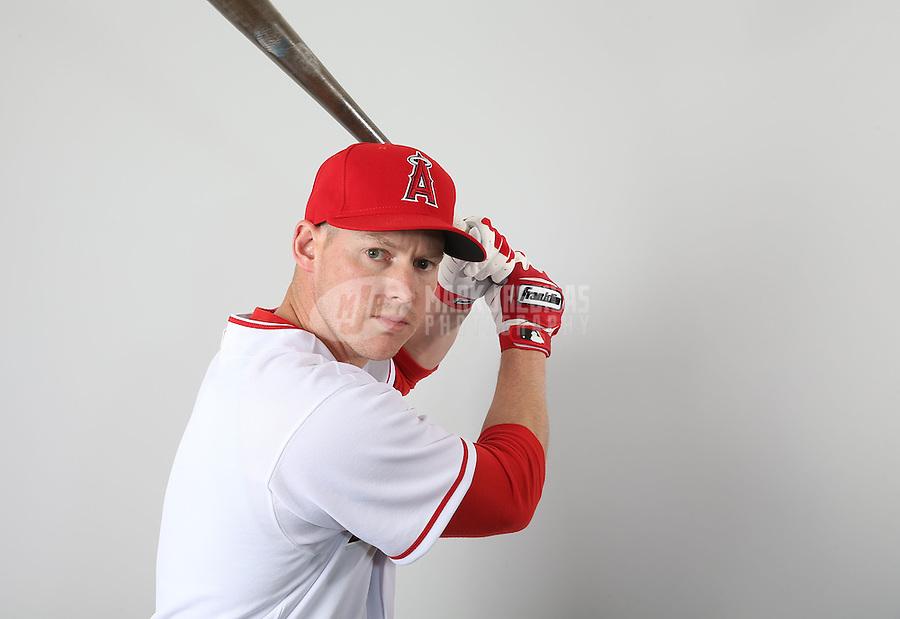 Feb. 21, 2113; Tempe, AZ, USA: Los Angeles Angels catcher Luke Carlin poses for a portrait during photo day at Tempe Diablo Stadium. Mandatory Credit: Mark J. Rebilas-