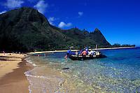 Hanalei beach w/ zodiac boat, Kauai
